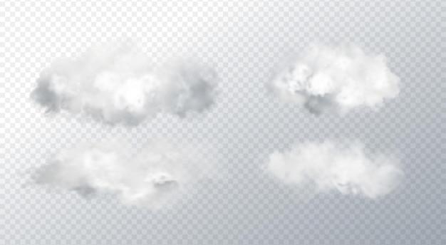 Vector set abstract realistic fog cloud design element