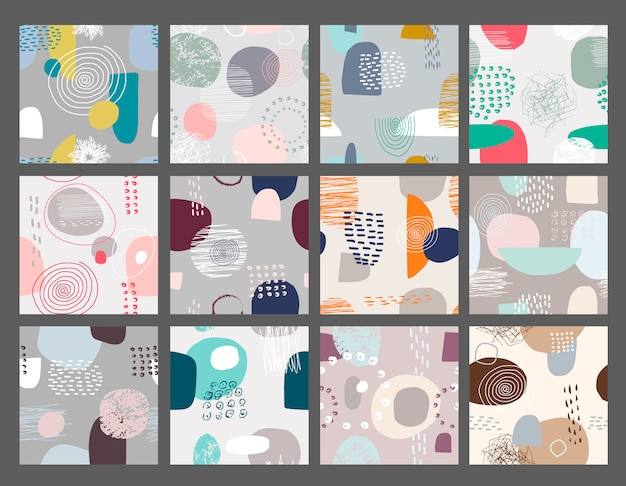 Vector set of abstract seamless patterns.