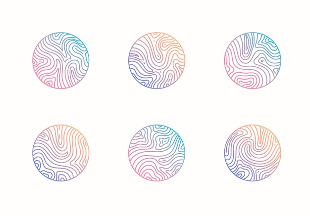 Vector set of abstract wavy minimal organic logos marble line emblem for business badge print