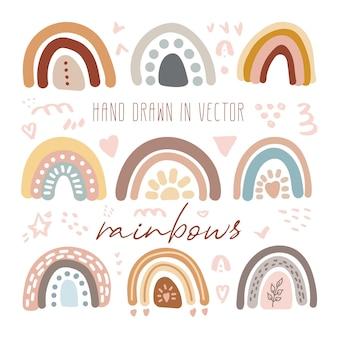 Vector set of adorable rainbows clipart in trendy scandinavian style funny cute hygge illustration