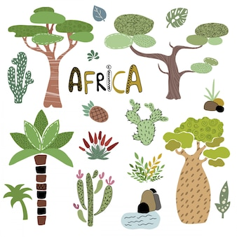 Vector set of african palm trees