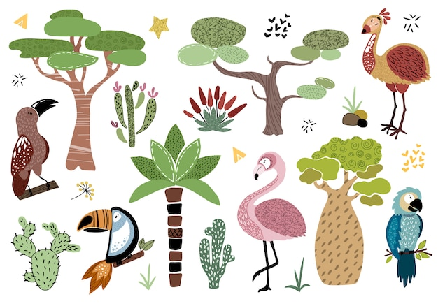 Vector set african trees