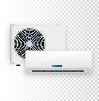Vector set of air conditioner installation on transparent background