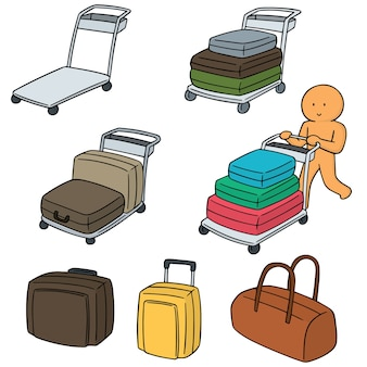 Vector set of airport luggage cart