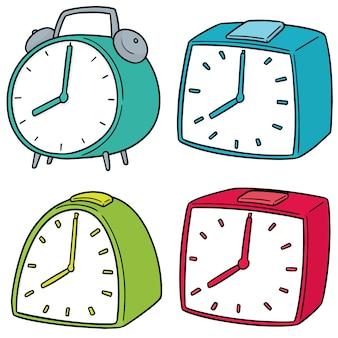 Vector set of alarm clock