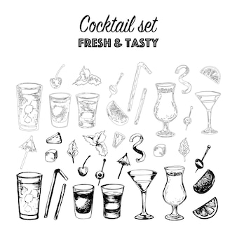 Vector set of alcohol popular cocktails with slices of fruits and decoration of cocktails