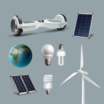 Векторный набор альтернативных и возобновляемых источников энергии с ветровыми электрогенераторами, солнечными батареями, энергосберегающими лампами, чистой планетой, ховербордом