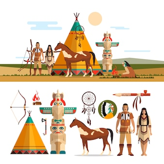 Vector set of american indian tribal objects, design elements in flat style. male and female indian, totem and fire place.