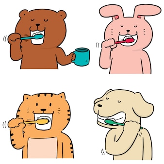 Vector set of animal brushing teeth