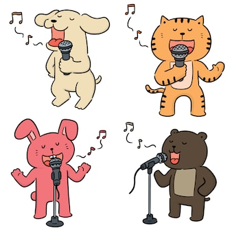 Vector set of animal singing