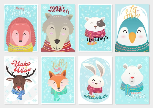 Vector set of animals christmas time cartoon illustration greeting cards template backgrounds big collection set with deer rabbit deer cat and snowflakes and xmas elements
