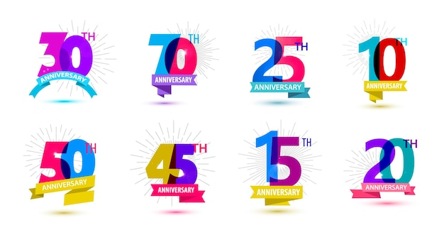 Vector set of anniversary dates compositions with ribbons years birthday logo labels isolated