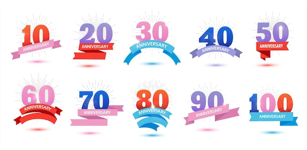 Vector set of anniversary dates numbers sun rays fireworks ribbons template design for web