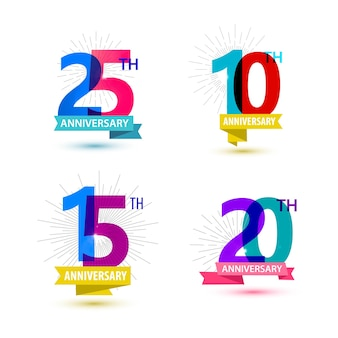 Vector set of anniversary numbers design 25 10 15 20 icons compositions with ribbons