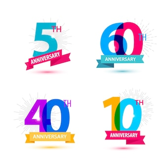 Vector set of anniversary numbers design 5 60 40 10 icons compositions with ribbon