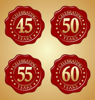 Vector set of anniversary red wax seal
