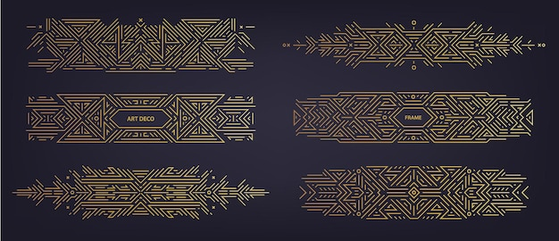 Vector set of art deco linear dividers, borders, frames, decorative design elements. creative geometric abstract templates in classic retro style of 1920s. use for packaging, ad, as banner, decor