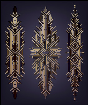Vector set of astract linear shapes, golden art deco banners, dividers, decor design elements