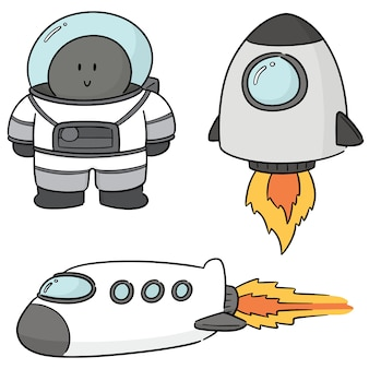 Vector set of astronaut