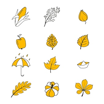 Vector set of autumn icons. collection of doodle elements of cozy autumn season. bright background for harvesting. autumn postcard. vector illustration