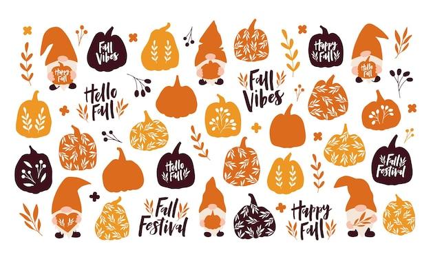 Векторный набор осенних символов и элементов. ручной обращается тыква, лист, милый гном, цитата letterinng на белом фоне. урожай, осенний сезон, украшение хэллоуина. шаблон для плаката, открытки, наклейки