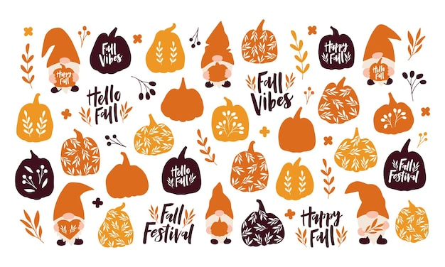 Vector set autumn symbols and elements. hand drawn pumpkin, leaf, cute gnome, letterinng quote on white background. harvest, fall season, halloween decoration. template for poster, card, sticker