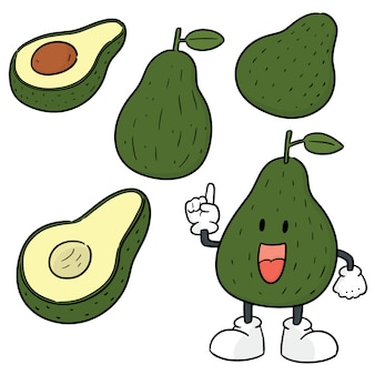 Vector set of avocado