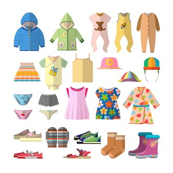 Vector set of baby clothes in flat style. children clothing collection design.