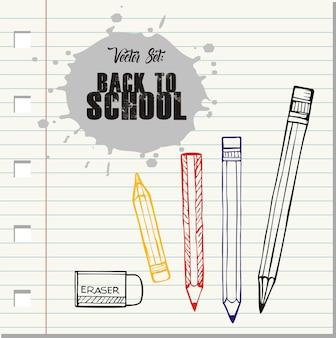 Vector set back to school, doodle pencils and eraser