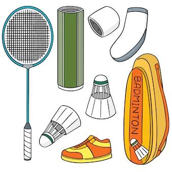 Vector set of badminton equipment