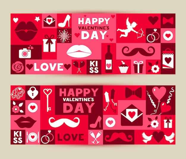 Vector set banners of valentines day