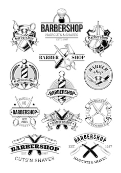 Vector set of barbershop logos, signage