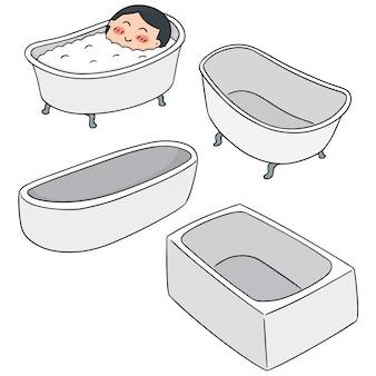 Vector set of bathtub