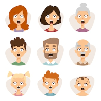 Vector set beautiful emoticons face of people character fear avatars.