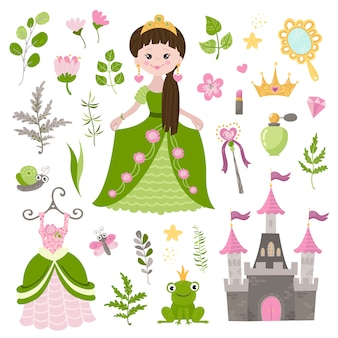 Vector set of beautiful princess, castle, and accessories