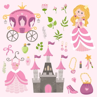Vector set of beautiful princess, castle, carriage and accessories.
