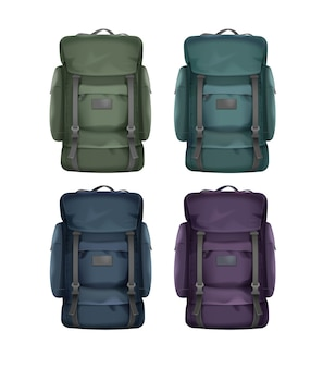 Vector set of big green, blue, violet, turquoise travel backpacks front view isolated on white background