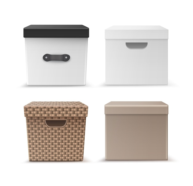Vector set of black, beige carton, wicker clothes storage boxes with handles front view isolated on white background