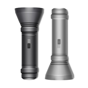 Vector set of black and gray pocket turned off flashlights side view isolated on white background