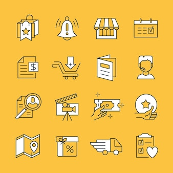 Vector set of black and white icons for highlights and categories