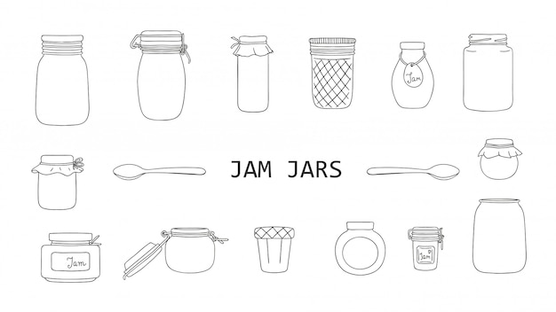 Vector set of black and white jam jars isolated . monochrome collection of preserved food in pots.