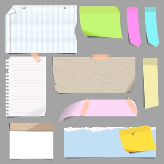 Vector set of blank note paper.