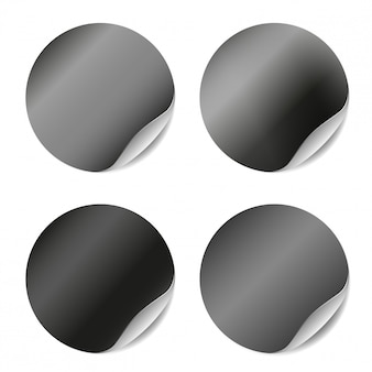Vector set of blank stickers isolated. round stickers for advertising design.