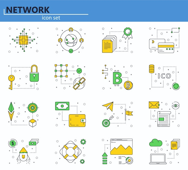 Vector set of blockchain technology and cryptocurrency icons in thin line style. bitcoin, ethereum, ico. website and mobile web app icon.