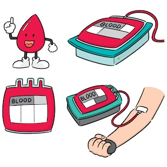 Vector set of blood donation