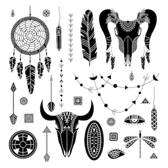 Vector set of boho illustrations. simple style. dreamcathers, animal skull, feathers and arrows