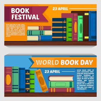 Vector set of books banner