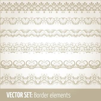 Vector set di elementi di bordo e elementi di decorazione pagina. disegni di elementi di decorazione di bordo. illustrazioni vettoriali di confini etnici.