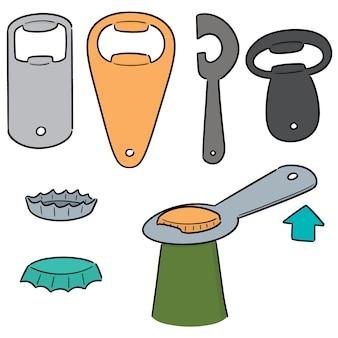 Vector set of bottle opener