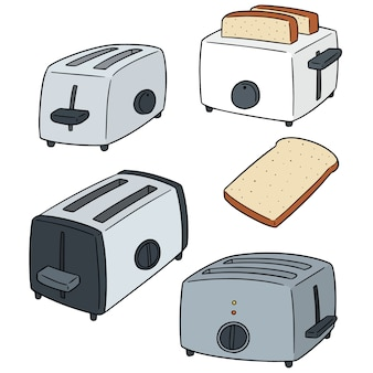 Vector set of bread and toaster